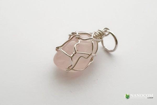 образец за висулка - зареден камък, посребрена тел